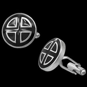 STAINLESS STEEL BLACK ENAMEL SHIELD CUFFLINKS