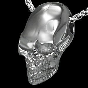STAINLESS STEEL CATHEDRAL SKULL NECKLACE - STEEL CHAIN