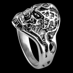 STAINLESS STEEL SKULL EXOSKELETON SKULL RING - SIDE VIEW