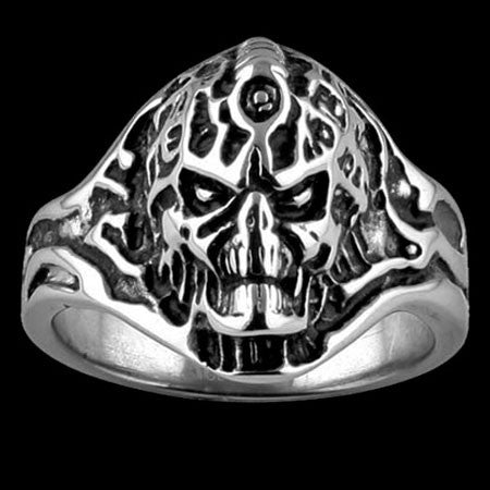 STAINLESS STEEL EXOSKELETON SKULL RING - 1