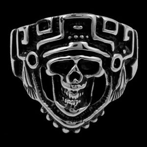 STAINLESS STEEL SKULL AZTEC DEATH MASK RING