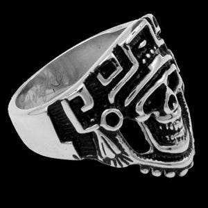 STAINLESS STEEL SKULL AZTEC DEATH MASK RING - SIDE VIEW