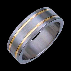 TITANIUM DUAL GOLD BANDS RING