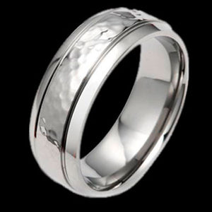 TITANIUM HAMMERED MATTE BAND RING
