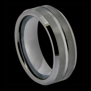 TUNGSTEN CARBIDE SINGLE GROOVE MATTE FINISH RING