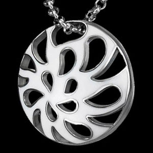 STAINLESS STEEL WHITE ENAMEL FILIGREE DISC NECKLACE