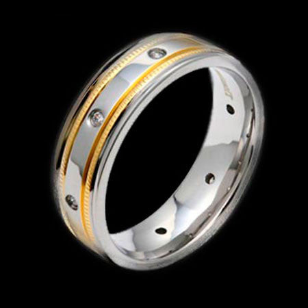 TITANIUM DOUBLE GOLD BAND & ZIRCONS RING