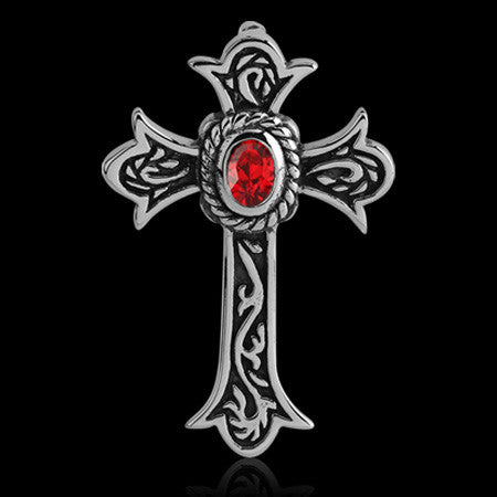 STAINLESS STEEL RED CZ MEDIEVAL CROSS NECKLACE