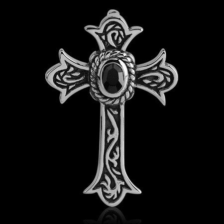 STAINLESS STEEL BLACK CZ MEDIEVAL CROSS NECKLACE