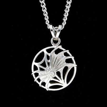 STAINLESS STEEL CZ SPIDER ON WEB NECKLACE