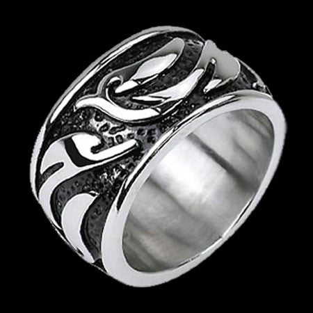 STAINLESS STEEL WIDE BAND TRIBAL RING