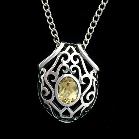 STERLING SILVER FILAGREE CITRINE SHIELD NECKLACE