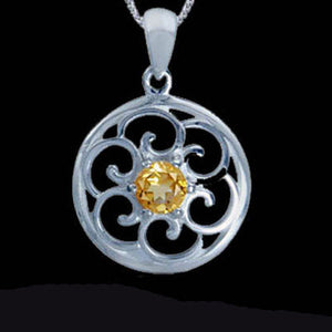 STERLING SILVER FILAGREE CITRINE CIRCLE NECKLACE