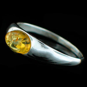 STERLING SILVER HONEY AMBER RING