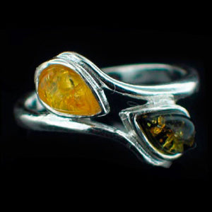 STERLING SILVER honey & GREEN AMBER TEARDROPS RING