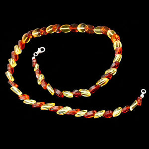 COGNAC & BUTTERSCOTCH BEVELLED BALTIC  AMBER  NECKLACE