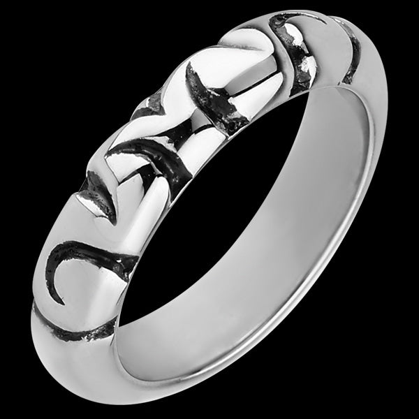 STAINLESS STEEL TRIBAL ETCHED BLACK RING