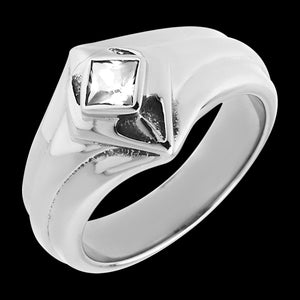 STAINLESS STEEL MEN'S CRYSTAL DIAMOND RING