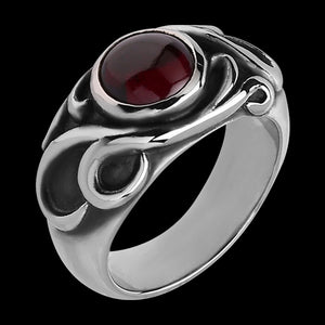 STAINLESS STEEL RED CRYSTAL MYSTICAL POWER RING
