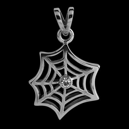 STAINLESS STEEL CZ SPIDER'S WEB NECKLACE