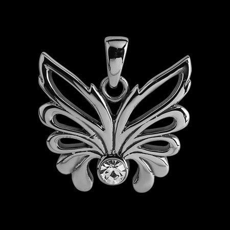STAINLESS STEEL CZ BUTTERFLY NECKLACE