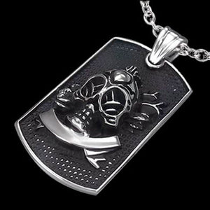 STAINLESS STEEL NUCLEAR FUTURE DOG TAG NECKLACE