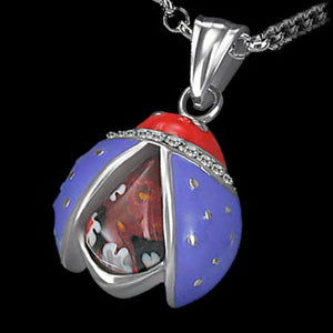 STAINLESS STEEL PURPLE ENAMEL MILleFIORI LADY BUG NECKLACE