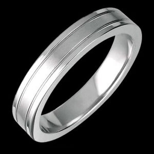STAINLESS STEEL SATIN FINISH THIN DUAL BAND RING