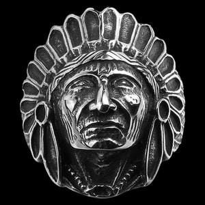 STAINLESS STEEL AMERICAN INDIAN CHIEF HEADDRESS RING - FRONT VIEW