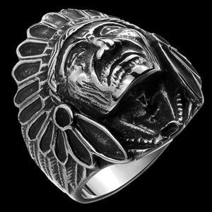 STAINLESS STEEL AMERICAN INDIAN CHIEF HEADDRESS RING