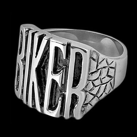 STAINLESS STEEL BIKER IDENTITY RING