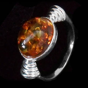 STERLING SILVER BALTIC AMBER ART DECO RING