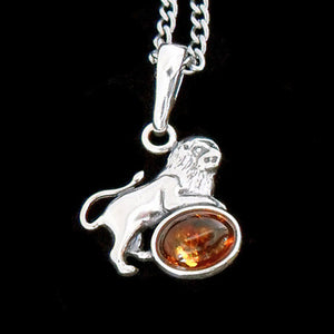 STERLING SILVER & AMBER ZODIAC NECKLACE LEO
