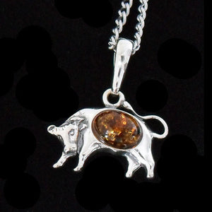 STERLING SILVER & AMBER ZODIAC NECKLACE TAURUS