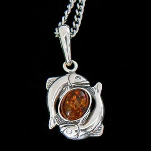 STERLING SILVER & AMBER ZODIAC NECKLACE PISCIES