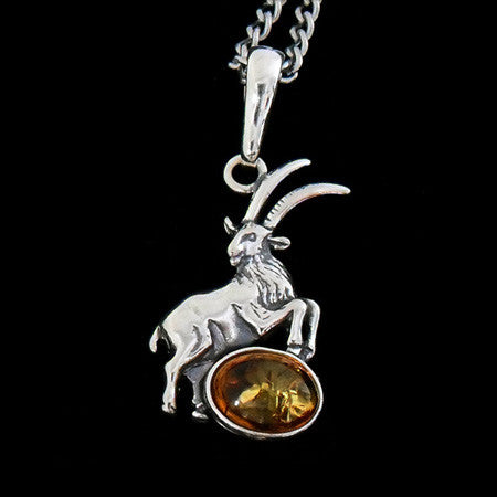 STERLING SILVER & AMBER ZODIAC NECKLACE CAPRICORN