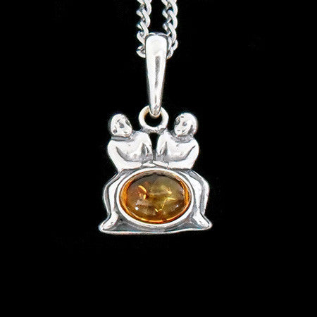 STERLING SILVER & AMBER ZODIAC NECKLACE GEMINI