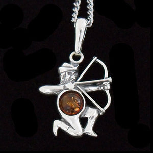 STERLING SILVER & AMBER ZODIAC NECKLACE SAGITTARIUS