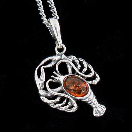 STERLING SILVER & AMBER ZODIAC NECKLACE CANCER