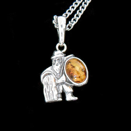 STERLING SILVER & AMBER ZODIAC NECKLACE AQUARIUS