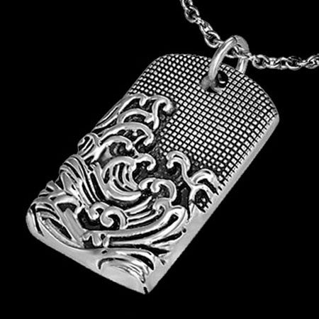 STAINLESS STEEL SEA WAVES DOG TAG NECKLACE