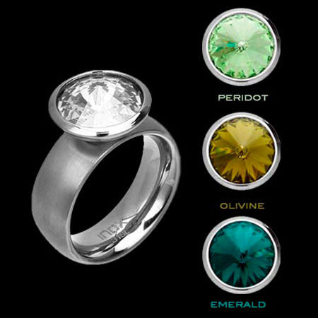 STAINLESS STEEL INOX GREEN HUES INTERCHANGE RING - 1