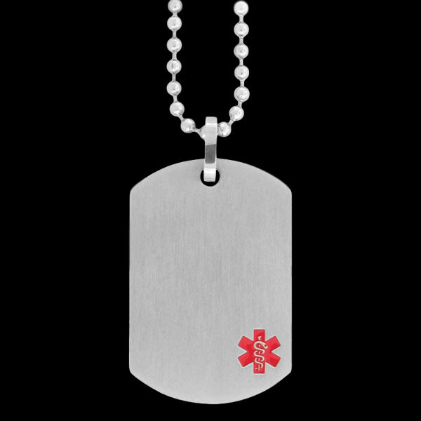 STAINLESS STEEL MATT FINISHED MEDICAL ALERT DOG TAG NECKLACE