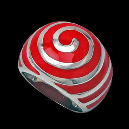 STAINLESS STEEL RED ENAMEL VORTEX RING