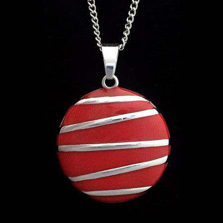 STAINLESS STEEL RED ENAMEL DISC NECKLACE