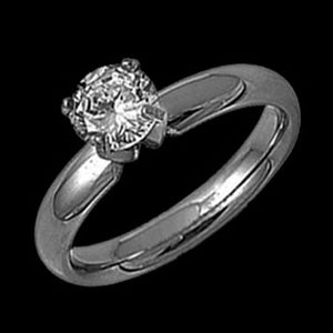STAINLESS STEEL CLAW SET CATHEDERAL SOLITAIRE RING - 1