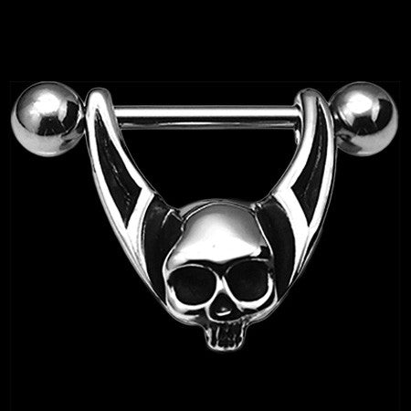 KOOLKATANA STAINLESS STEEL TOP SKULL NIPPLE RING