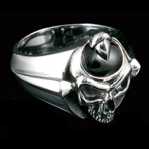KOOLKATANA STAINLESS STEEL BLACK ONYX SKULL RING
