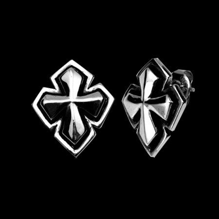 STAINLESS STEEL GOTHIC CROSS EARRINGS