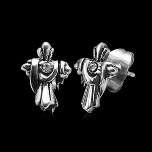 STAINLESS STEEL DECORATED CROSS STUD EARRINGS